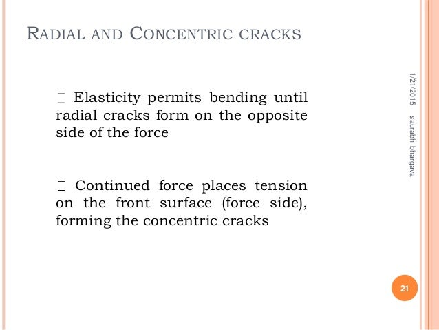 Elasticity permits bending until radial cracks form on the opposite side of the force Continued force places tension on th...