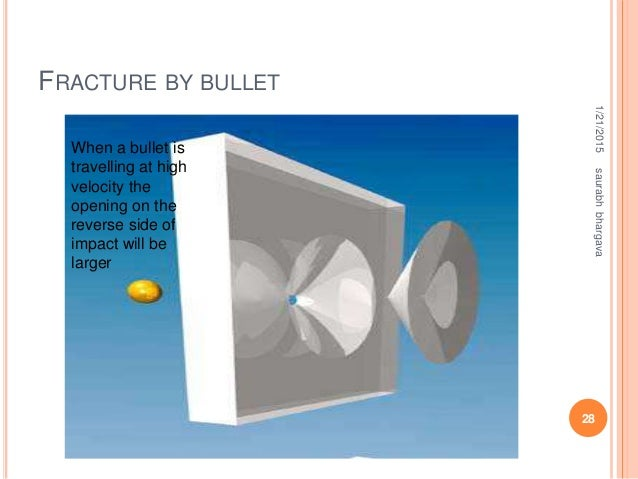 FRACTURE BY BULLET 1/21/2015 28 saurabhbhargava When a bullet is travelling at high velocity the opening on the reverse si...