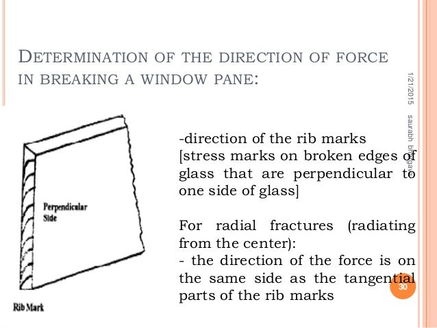 DETERMINATION OF THE DIRECTION OF FORCE IN BREAKING A WINDOW PANE: 1/21/2015 30 saurabhbhargava -direction of the rib mark...