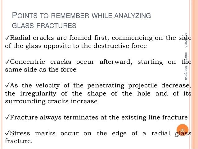 POINTS TO REMEMBER WHILE ANALYZING GLASS FRACTURES 1/21/2015 33 saurabhbhargava ✓Radial cracks are formed first, commencin...