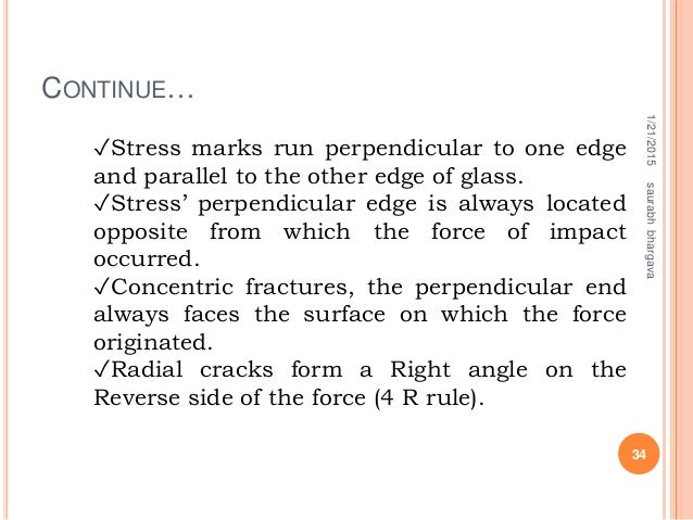 CONTINUE… 1/21/2015 34 saurabhbhargava ✓Stress marks run perpendicular to one edge and parallel to the other edge of glass...