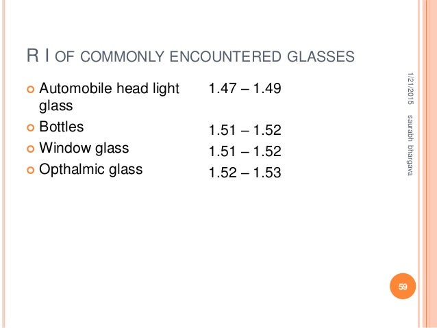 R I OF COMMONLY ENCOUNTERED GLASSES 1/21/2015saurabhbhargava 59  Automobile head light glass  Bottles  Window glass  O...