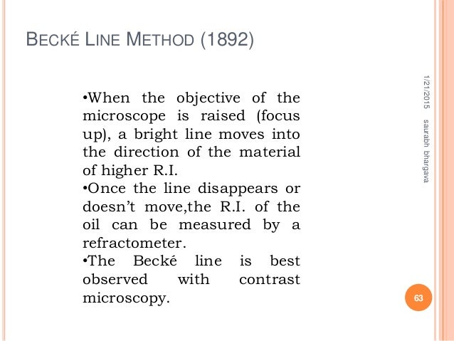 BECKÉ LINE METHOD (1892) 1/21/2015 63 saurabhbhargava •When the objective of the microscope is raised (focus up), a bright...
