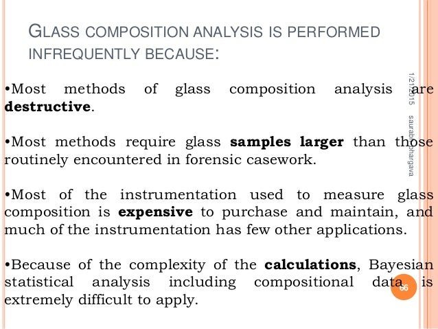 GLASS COMPOSITION ANALYSIS IS PERFORMED INFREQUENTLY BECAUSE: 1/21/2015 66 saurabhbhargava •Most methods of glass composit...