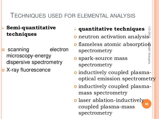 TECHNIQUES USED FOR ELEMENTAL ANALYSIS 1/21/2015saurabhbhargava 68  Semi-quantitative techniques  scanning electron micr...