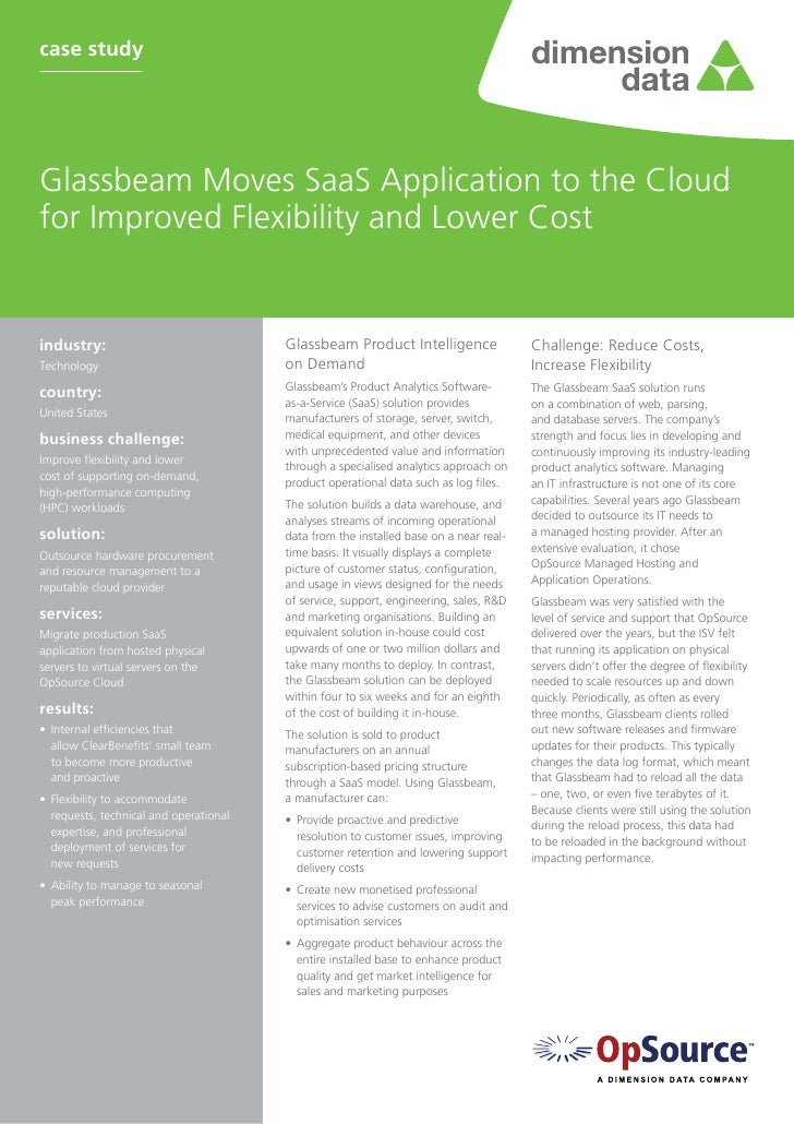 case studyGlassbeam Moves SaaS Application to the Cloudfor Improved Flexibility and Lower Costindustry:                  ...