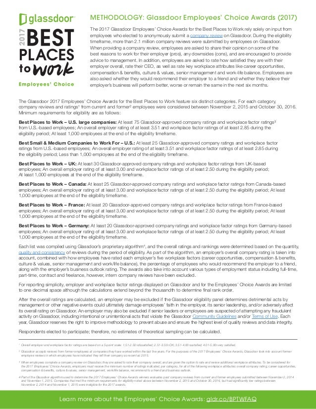 Methodology Glassdoor Employees Choice Awards 2017 The