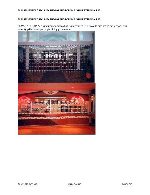 GLASSESSENTIAL® SECURITY SLIDING AND FOLDING GRILLE SYSTEM – S 12GLASSESSENTIAL® VRINDA INC. 30/08/12GLASSESSENTIAL® SECUR...