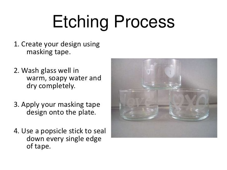 Etching Process1. Create your design using    masking tape.2. Wash glass well in    warm, soapy water and    dry completel...