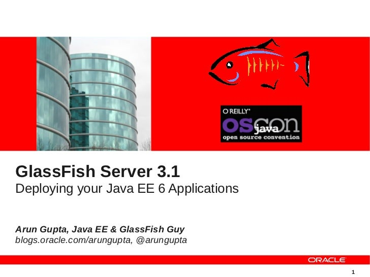 GlassFish Server 3.1Deploying your Java EE 6 ApplicationsArun Gupta, Java EE & GlassFish Guyblogs.oracle.com/arungupta, @a...