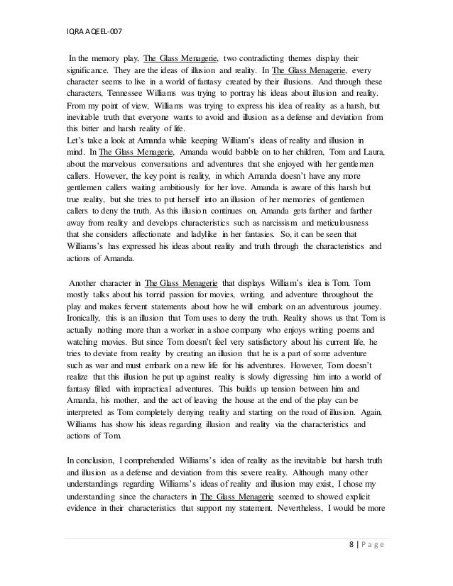the glass menagerie essays on amanda The glass menagerie compose a 750-word paper in which you write a literary analysis of the glass menagerie feel free to use the basic apa formatted template throughout the play, amanda refers to tom's hope for a life other than the one he has as selfish.