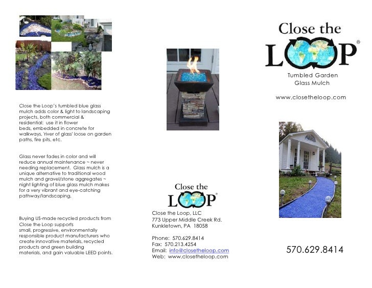 Close the Loop's tumbled blue glass mulch adds color & light to landscaping projects, both commercial & residential:  use ...