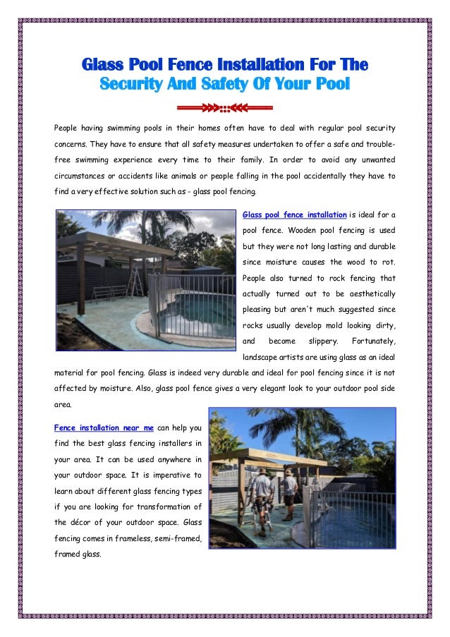 Glass Pool Fence Installation For Your Pool
