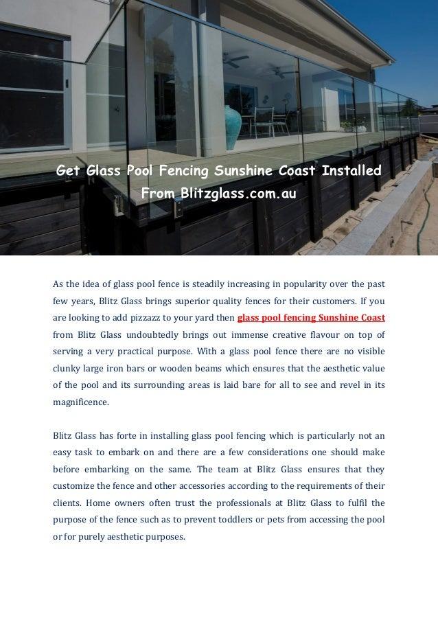 Glass Pool Fencing Sunshine Coast Blitz Glass