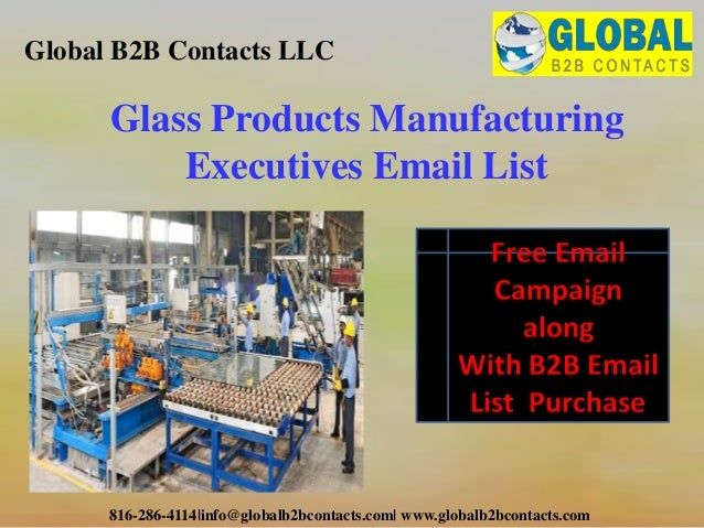 Glass products manufacturing executives email list