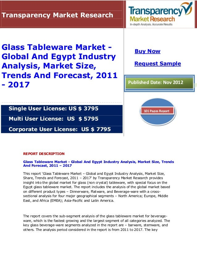 Transparency Market ResearchGlass Tableware Market -                                                  Buy NowGlobal And Eg...