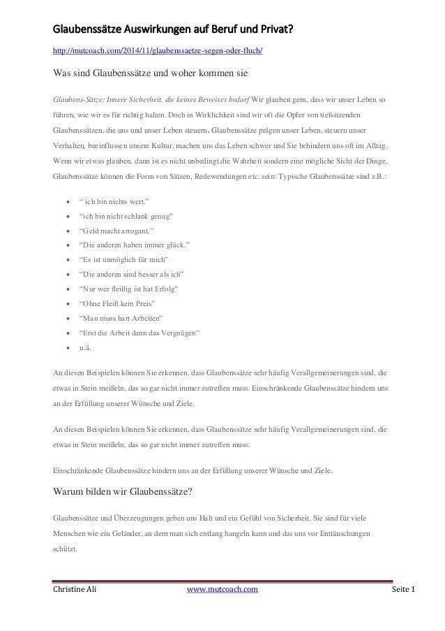 Christine Ali www.mutcoach.com Seite 1 Glaubenssätze Auswirkungen auf Beruf und Privat? http://mutcoach.com/2014/11/glaube...