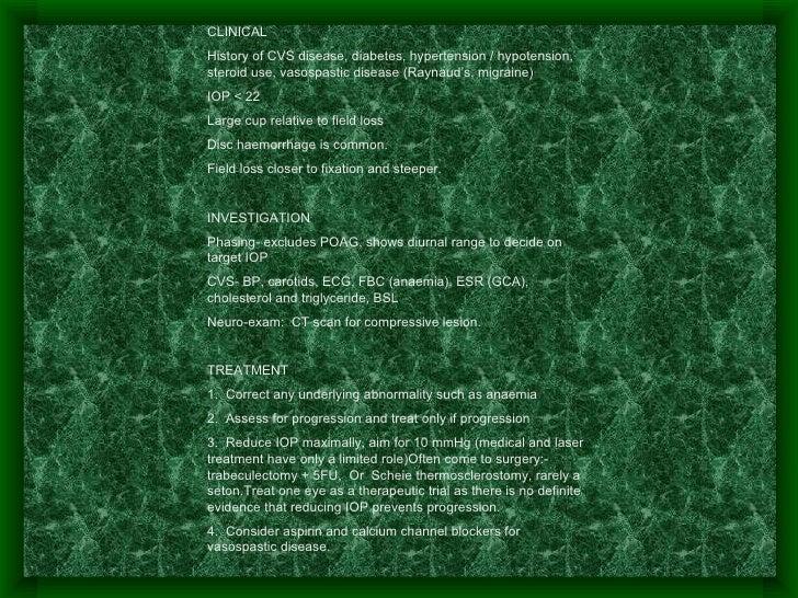 CLINICAL History of CVS disease, diabetes, hypertension / hypotension, steroid use, vasospastic disease (Raynaud's, migrai...
