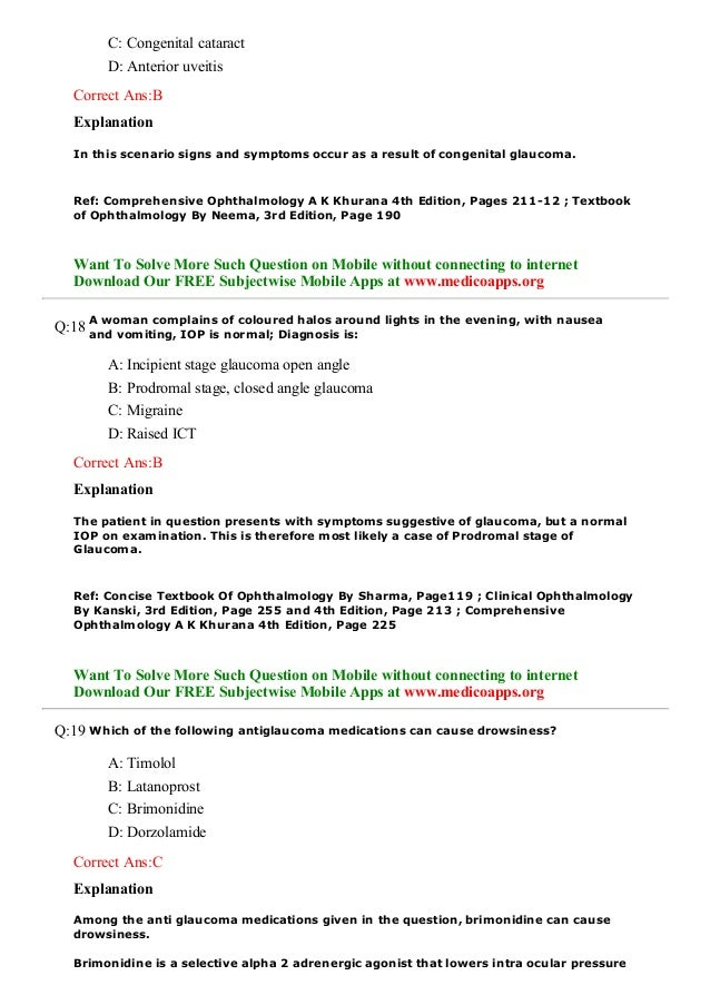 Glaucoma previous year questions
