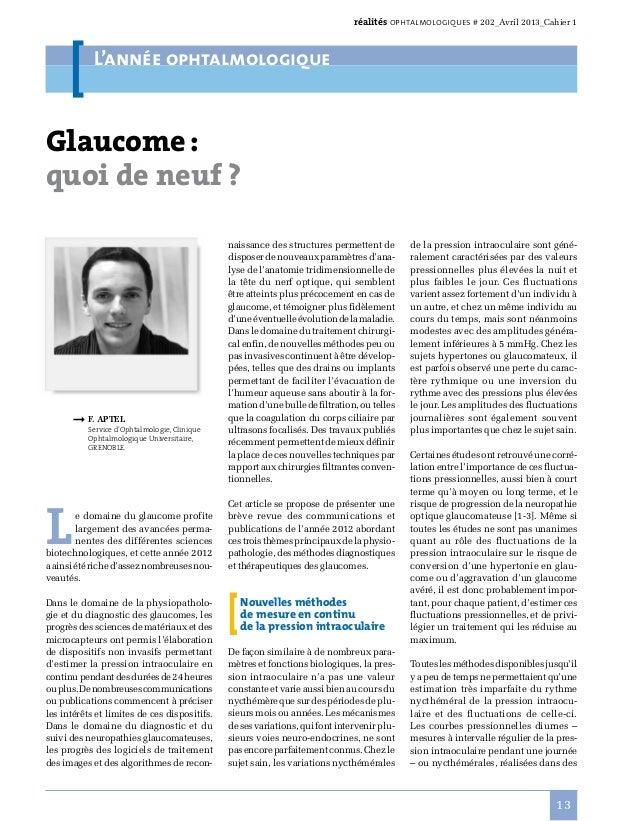réalités ophtalmologiques # 202_Avril 2013_Cahier 1  L'année ophtalmologique  Glaucome: quoi de neuf?  ➞F.Aptel  Serv...