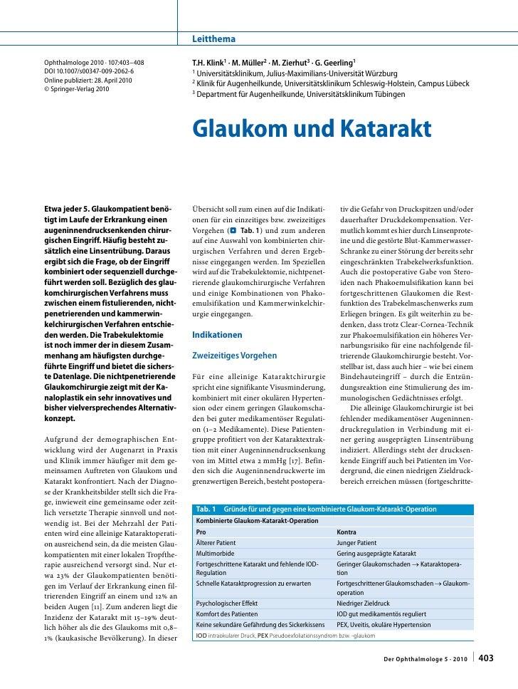 Leitthema  Ophthalmologe2010·107:403–408               T.H.Klink1·M.Müller2·M.Zierhut3·G.Geerling1 DOI10.100...