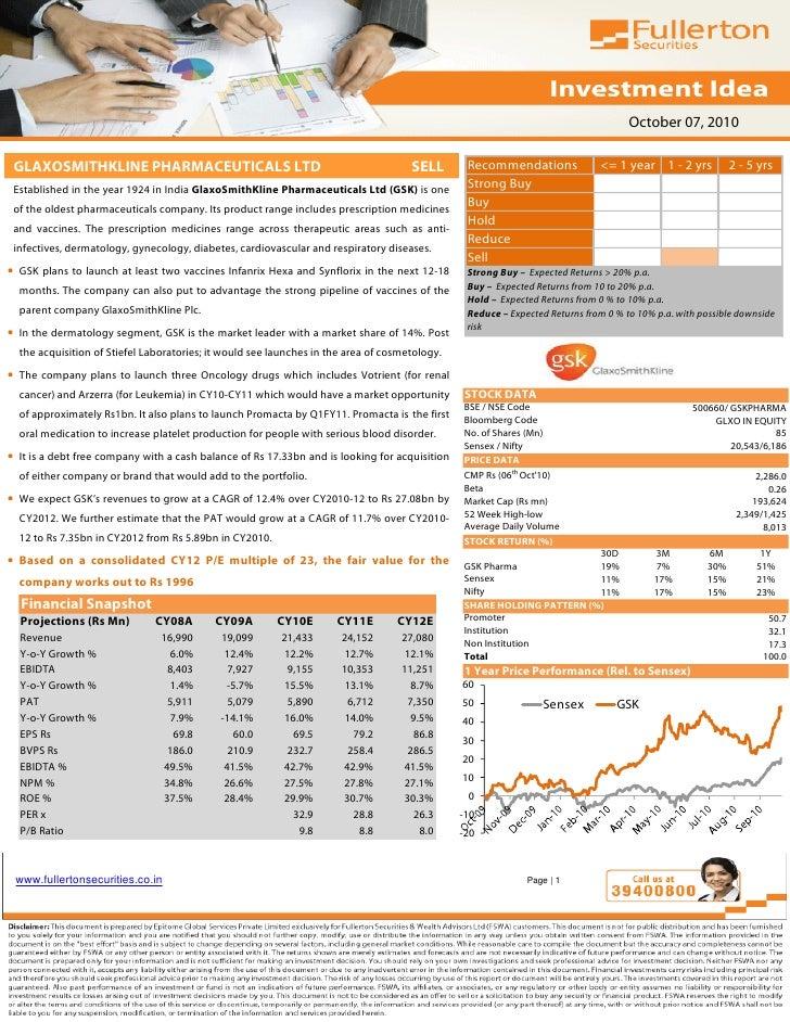 October 07, 2010   GLAXOSMITHKLINE PHARMACEUTICALS LTD                                                 SELL       Recommen...