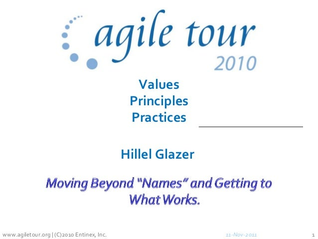 11-Nov-2011 1 Values Principles Practices www.agiletour.org | (C)2010 Entinex, Inc. Hillel Glazer