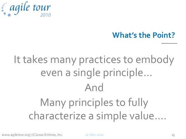 What's the Point? It takes many practices to embody even a single principle… And Many principles to fully characterize a s...