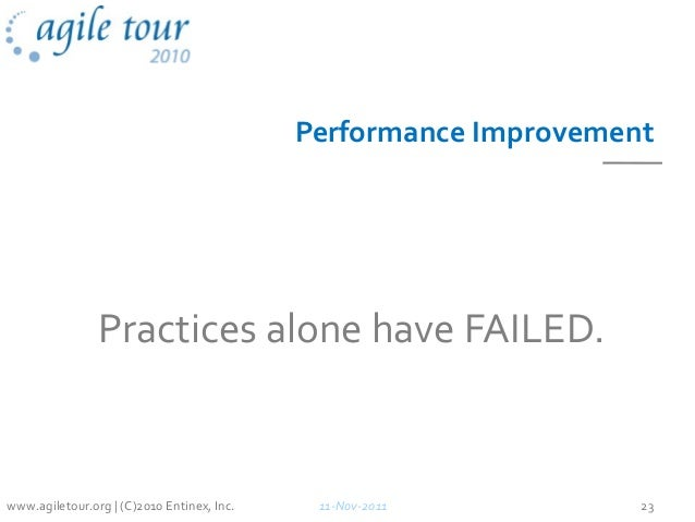 Performance Improvement Practices alone have FAILED. 11-Nov-2011 23www.agiletour.org | (C)2010 Entinex, Inc.