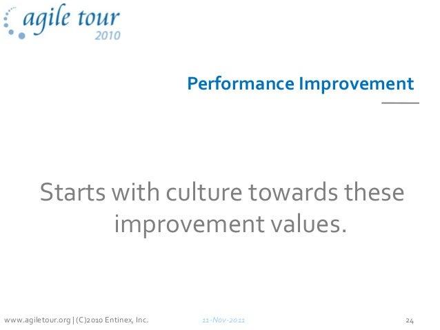 Performance Improvement Starts with culture towards these improvement values. 11-Nov-2011 24www.agiletour.org | (C)2010 En...