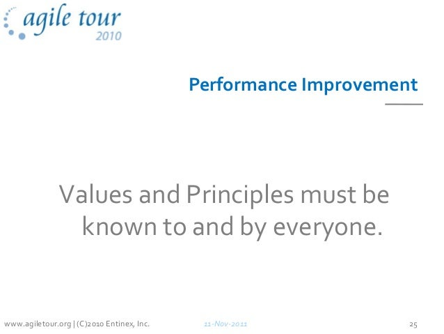 Performance Improvement Values and Principles must be known to and by everyone. 11-Nov-2011 25www.agiletour.org | (C)2010 ...
