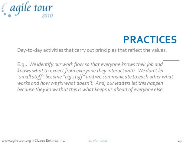 PRACTICES Day-to-day activities that carry out principles that reflect the values. E.g., We identify our work flow so that...