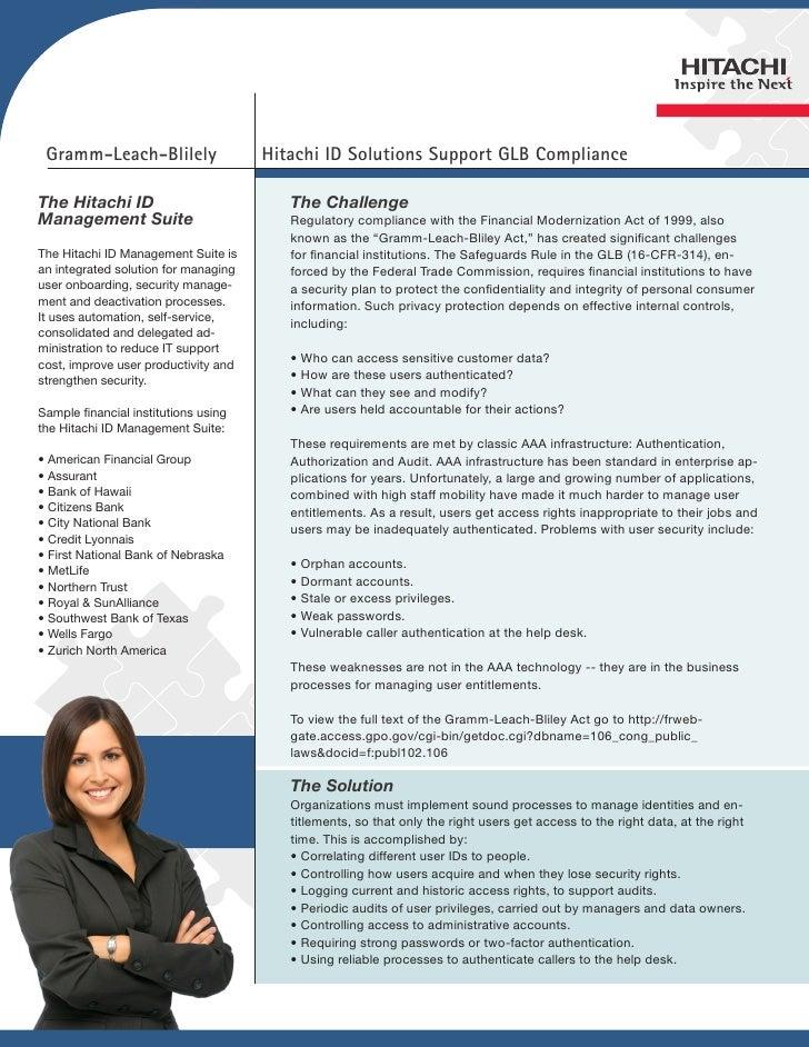 Gramm-Leach-Blilely                  Hitachi ID Solutions Support GLB ComplianceThe Hitachi ID                           T...