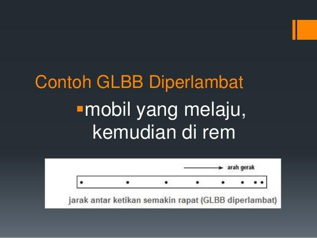Contoh GLBB Diperlambat  mobil yang melaju,  kemudian di rem