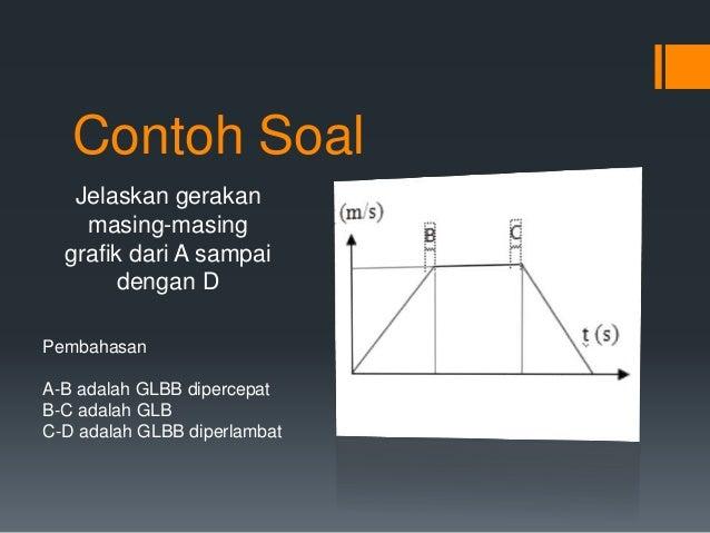 Contoh Soal  Jelaskan gerakan  masing-masing  grafik dari A sampai  dengan D  Pembahasan  A-B adalah GLBB dipercepat  B-C ...