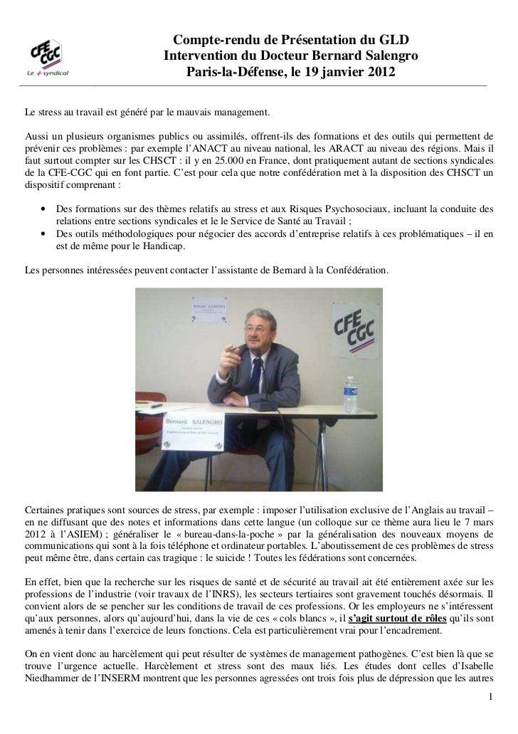 Compte-rendu de Présentation du GLD                                  Intervention du Docteur Bernard Salengro             ...