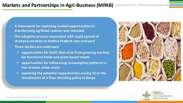 Presentation at the 98th ICRISAT Governing Board Meeting Program Committee   20 April 2021 5 Markets and Partnerships in A...