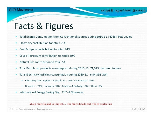 ordinary facts about energy conservation #2: ... 22. GLD Movement வாழ்த்தி பழகுேவா இயக்கம் Facts u0026 Figures Total Energy  ...