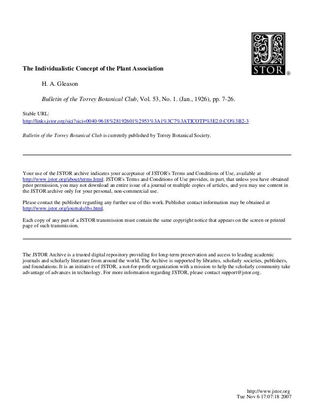 The Individualistic Concept of the Plant AssociationH. A. GleasonBulletin of the Torrey Botanical Club, Vol. 53, No. 1. (J...