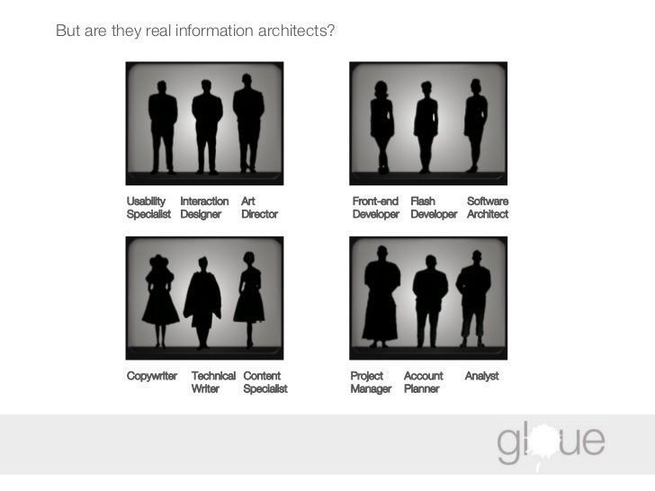But are they real information architects? Usability  Specialist Interaction Designer Art Director Front-end Developer Flas...