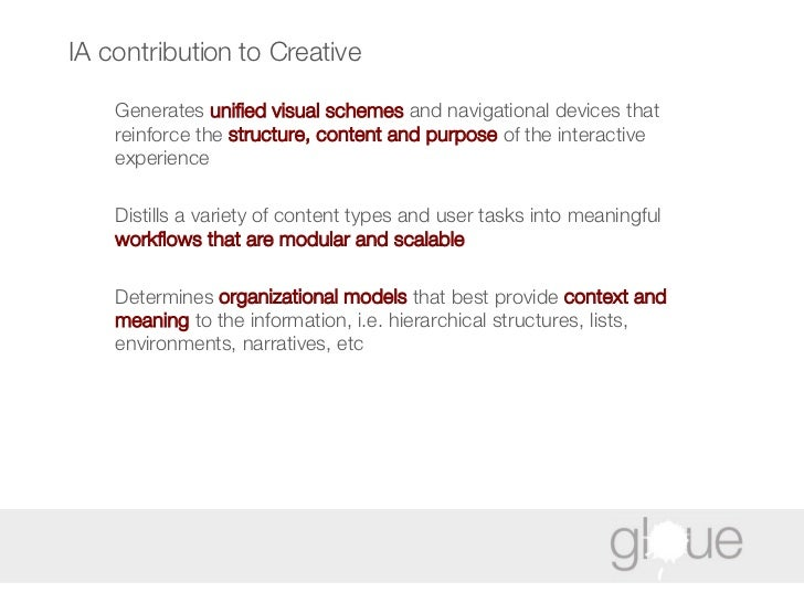IA contribution to Creative <ul><li>Generates  unified visual schemes  and navigational devices that reinforce the  struct...