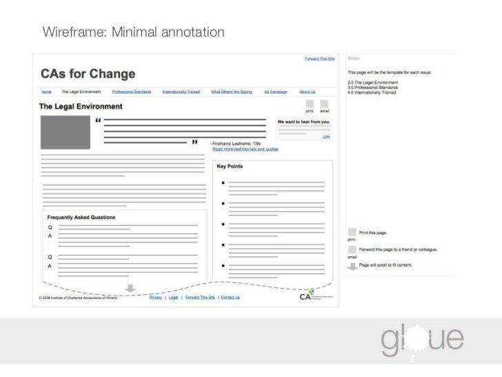 Wireframe: Minimal annotation