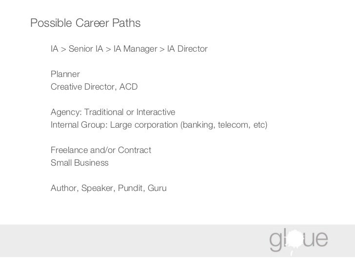 Possible Career Paths IA > Senior IA > IA Manager > IA Director Planner Creative Director, ACD Agency: Traditional or Inte...