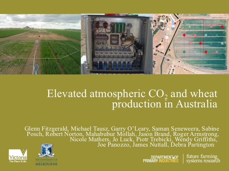 Elevated atmospheric CO 2  and wheat production in Australia Glenn Fitzgerald, Michael Tausz, Garry O'Leary, Saman Senewee...