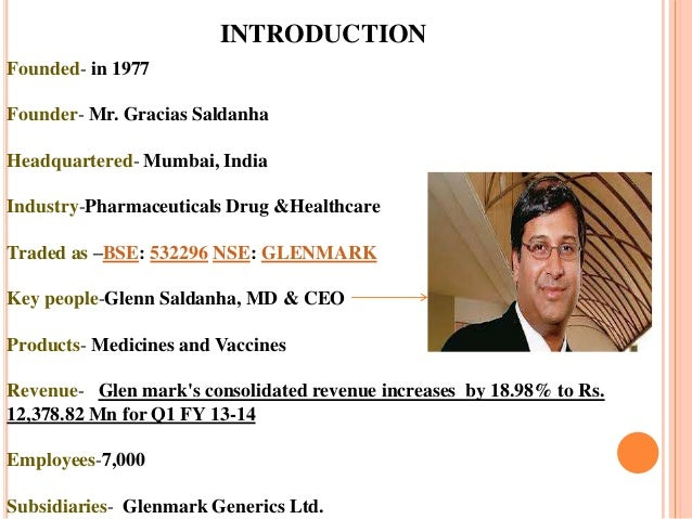 82 Pharmaceuticals Co Ltd Email Mail: Glenmark Pharma Ppt Final