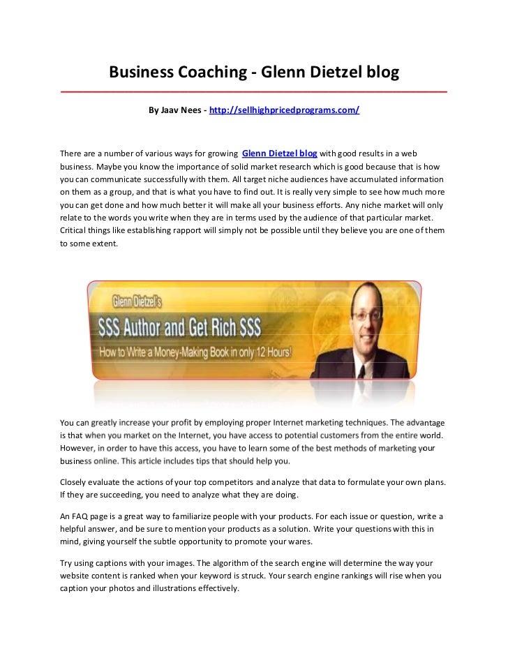 Business Coaching - Glenn Dietzel blog____________________________________________________________________________________...