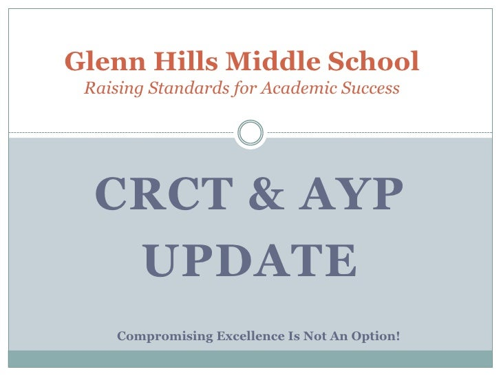 Glenn Hills Middle SchoolRaising Standards for Academic Success<br />CRCT & AYP <br />Update<br />Compromising Excellence ...