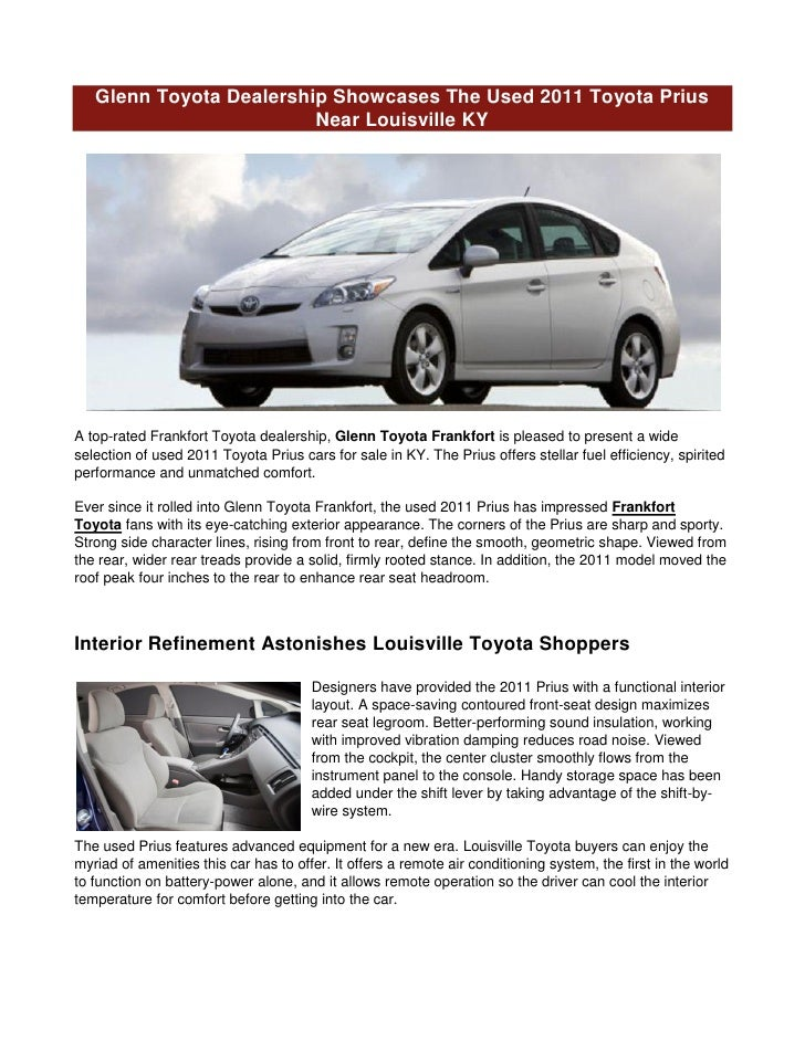 Used Car Dealerships In Louisville Ky >> Glenn Toyota Dealership Showcases The Used 2011 Toyota Prius