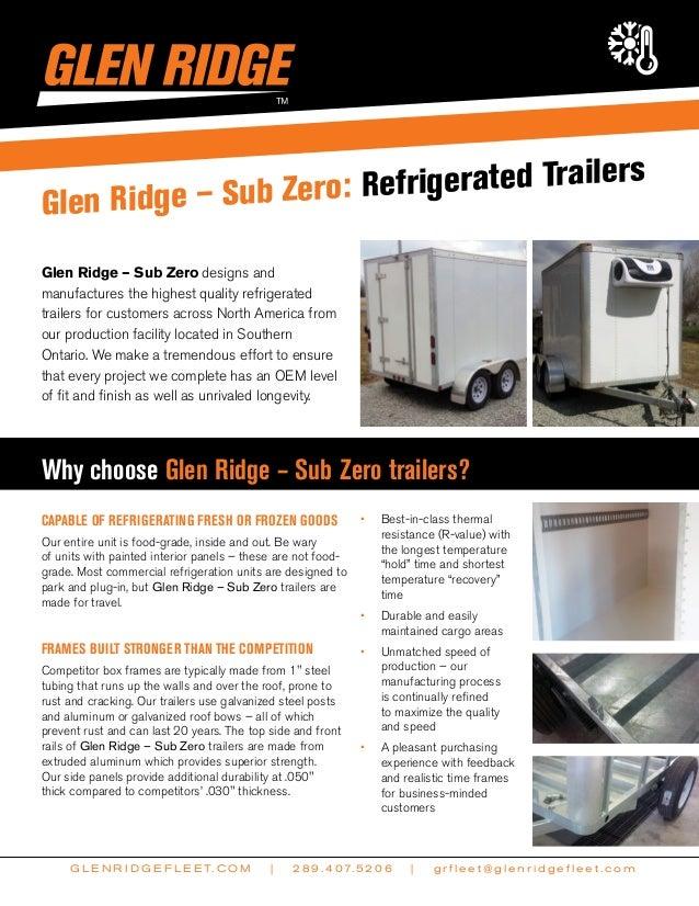 Glen Ridge Sub - Zero cooler/freezer trailers