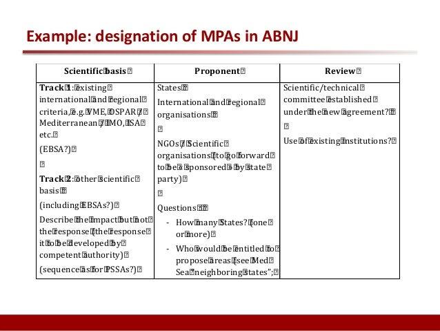 Example: designation of MPAs in ABNJ